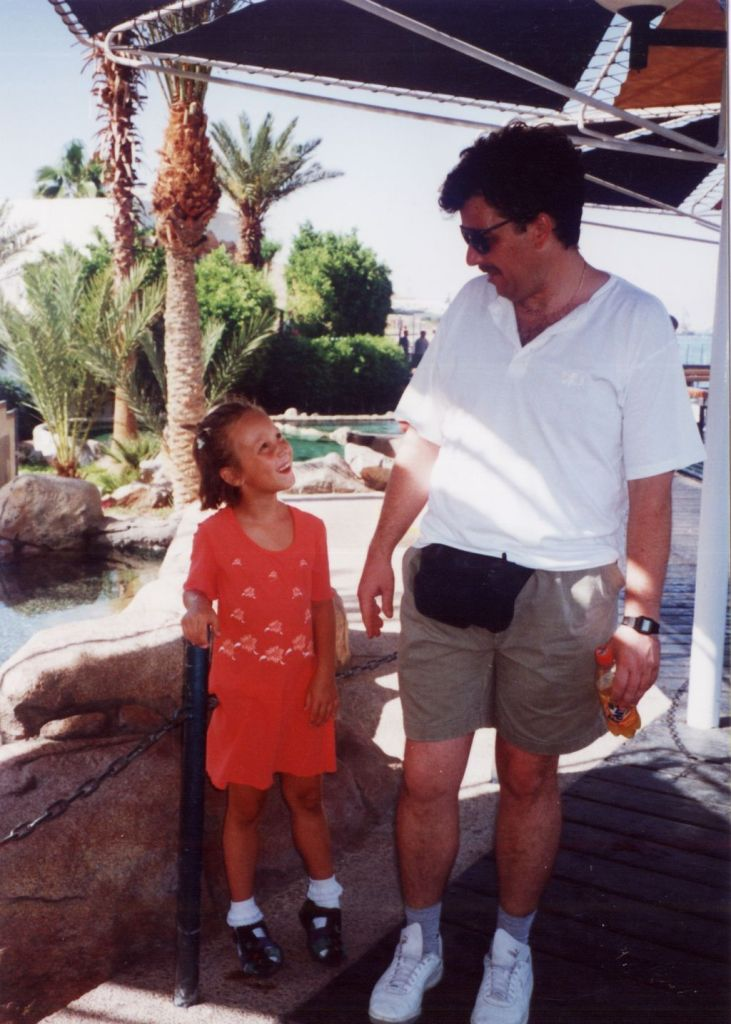 With my dad when I was 6 and on peeptoes!
